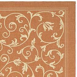 Safavieh Resorts Scrollwork Terracotta/ Natural Indoor/ Outdoor Rug (9' x 12') - Thumbnail 1