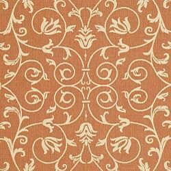 Safavieh Resorts Scrollwork Terracotta/ Natural Indoor/ Outdoor Rug (9' x 12') - Thumbnail 2