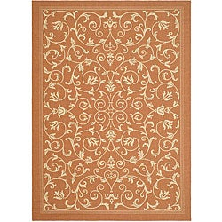 Safavieh Resorts Scrollwork Terracotta/ Natural Indoor/ Outdoor Rug (9' x 12')