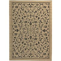 Safavieh Resorts Scrollwork Sand/ Black Indoor/ Outdoor Rug - 5'3 x 7'7