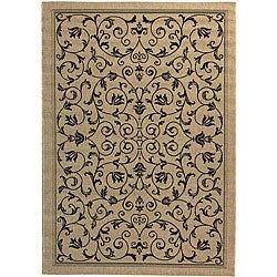 Safavieh Resorts Scrollwork Sand/ Black Indoor/ Outdoor Rug (9' x 12')