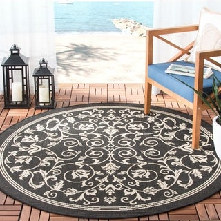 Safavieh Resorts Scrollwork Black/ Sand Indoor/ Outdoor Rug (5'3 Round)