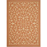 Safavieh Resorts Scrollwork Terracotta/ Natural Indoor/ Outdoor Rug - 6'7 x 9'6
