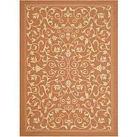 Safavieh Resorts Scrollwork Terracotta/ Natural Indoor/ Outdoor Rug - 8' x 11'