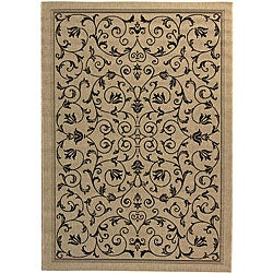Safavieh Resorts Scrollwork Sand/ Black Indoor/ Outdoor Rug (6'7 x 9'6)