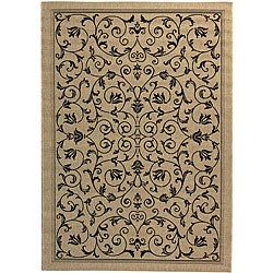 Safavieh Resorts Scrollwork Sand/ Black Indoor/ Outdoor Rug - 8' x 11' - Thumbnail 0