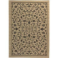 Safavieh Resorts Scrollwork Sand/ Black Indoor/ Outdoor Rug - 8' x 11'