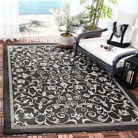 Safavieh Resorts Scrollwork Black/ Sand Indoor/ Outdoor Rug - 4' x 5'7