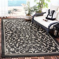 Safavieh Resorts Scrollwork Black/ Sand Indoor/ Outdoor Rug (6'7 x 9'6) - 6'7 x 9'6