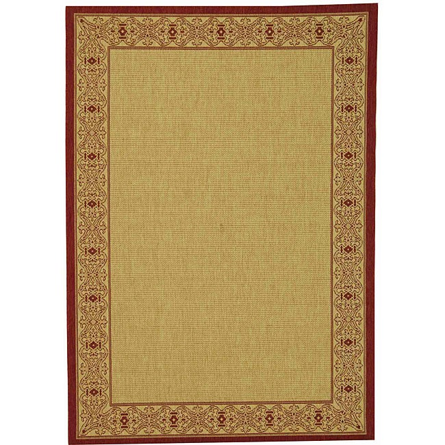 Safavieh Oceanview Natural/ Red Indoor/ Outdoor Rug - 8'11 x 12'