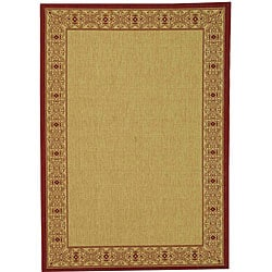 Safavieh Indoor/ Outdoor Oceanview Natural/ Red Rug (8' 11 x 12' rectangle)