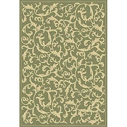 Safavieh Mayaguana Olive Green/ Natural Indoor/ Outdoor Rug (6'7 x 9'6)