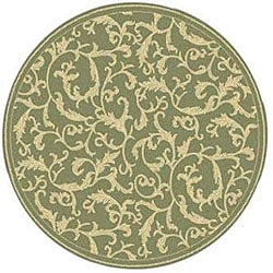 Safavieh Mayaguana Olive Green/ Natural Indoor/ Outdoor Rug (5'3 Round)