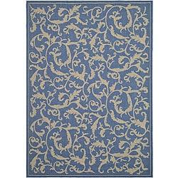Safavieh Indoor/ Outdoor Mayaguana Blue/ Natural Rug (6'7 x 9'6)