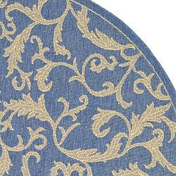 Safavieh Mayaguana Blue/ Natural Indoor/ Outdoor Rug (5'3 Round) - Thumbnail 2