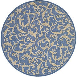Safavieh Mayaguana Blue/ Natural Indoor/ Outdoor Rug (6'7 Round)