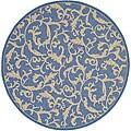 "Safavieh Mayaguana Blue/ Natural Indoor/ Outdoor Rug - 6'7"" x 6'7"" round"