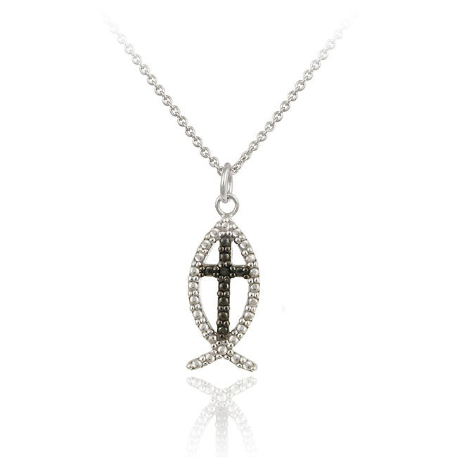 Db designs sterling silver black diamond accent jesus fish for Christian fish necklace