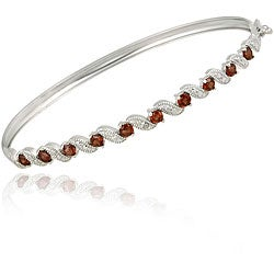 Glitzy Rocks Sterling Silver Garnet and Diamond Accent Bangle