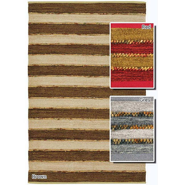 Artist's Loom Handmade Flatweave Casual Stripes Rug (5' x 7'6)