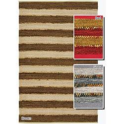 Artist's Loom Handmade Flatweave Casual Stripes Rug (5' x 7'6) - 5' x 7'6 - Thumbnail 0