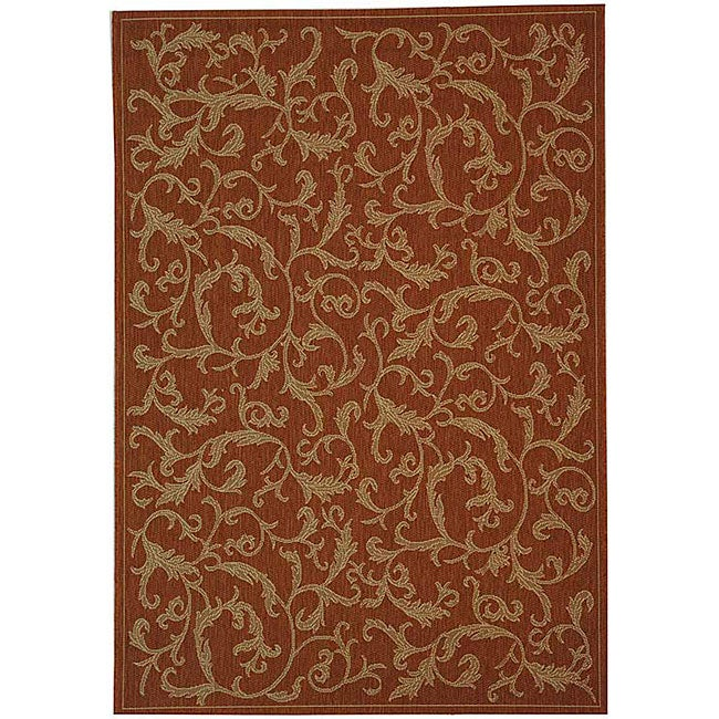 Safavieh Indoor/ Outdoor Mayaguana Terracotta/ Natural Rug (9' x 12')