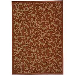 Safavieh Indoor/ Outdoor Mayaguana Terracotta/ Natural Rug (6'7 x 9'6)