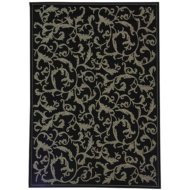 Safavieh Mayaguana Black Sand Indoor Outdoor Rug 9 x