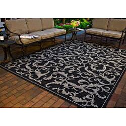 Safavieh Mayaguana Black/ Sand Indoor/ Outdoor Rug (9' x 12') - Thumbnail 1