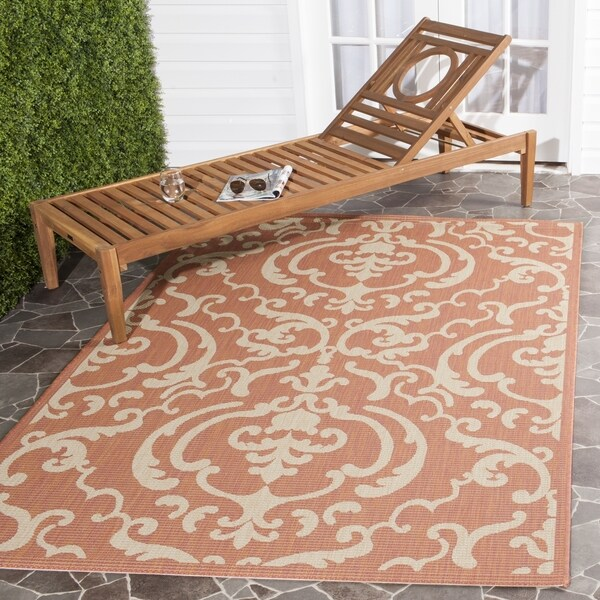 Shop Safavieh Bimini Damask Terracotta Natural Indoor Outdoor Rug