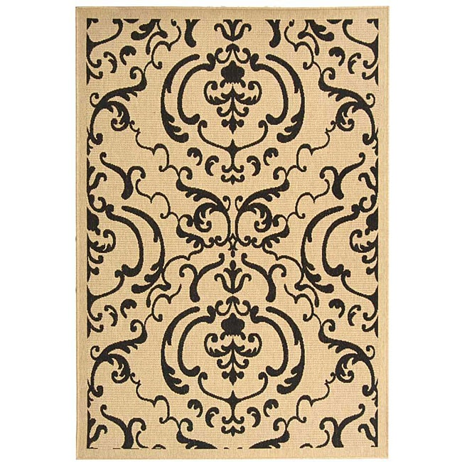 Safavieh Bimini Damask Sand/ Black Indoor/ Outdoor Rug (8' x 11')