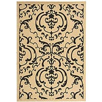 Safavieh Bimini Damask Sand/ Black Indoor/ Outdoor Rug - 8' x 11'