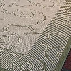 Safavieh Oasis Scrollwork Natural/ Olive Green Indoor/ Outdoor Rug (9' x 12')