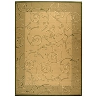 Safavieh Oasis Scrollwork Natural/ Olive Green Indoor/ Outdoor Rug - 9' x 12'