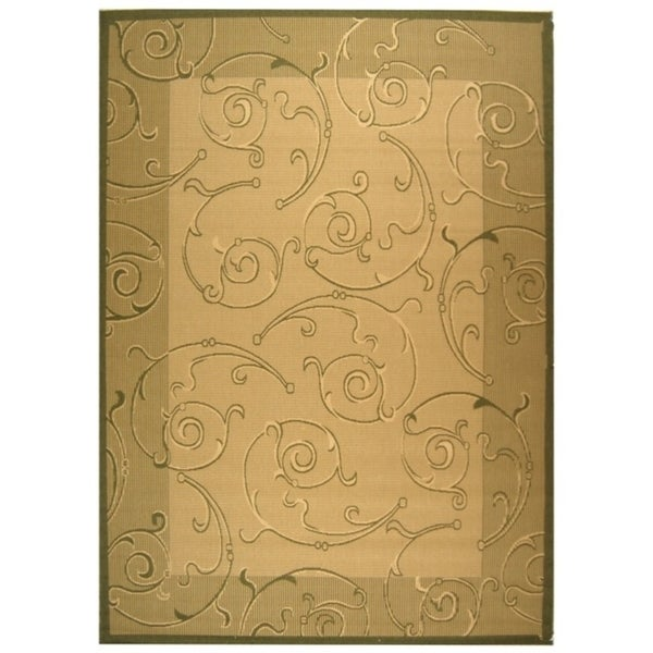 Safavieh Oasis Scrollwork Natural/ Olive Green Indoor/ Outdoor Rug - 9' x 12'