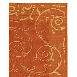 Safavieh Oasis Scrollwork Terracotta/ Natural Indoor/ Outdoor Rug (2'7 x 5')