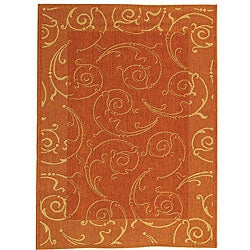 Safavieh Indoor/ Outdoor Oasis Terracotta/ Natural Rug (2'7 x 5')