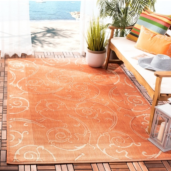 "Safavieh Oasis Scrollwork Terracotta/ Natural Indoor/ Outdoor Rug - 2'7"" x 5'"