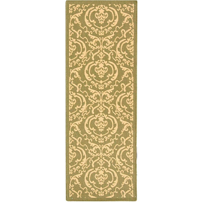 Safavieh Bimini Damask Olive Green/ Natural Indoor/ Outdoor Runner (2'4 x 6'7)