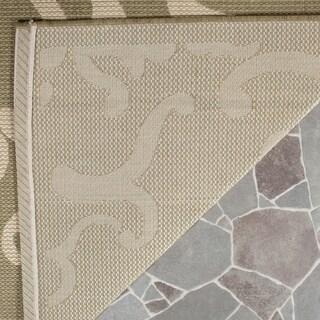 Safavieh Bimini Damask Olive Green/ Natural Indoor/ Outdoor Rug (8' x 11')