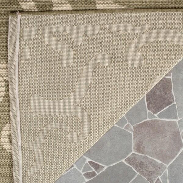 Safavieh Bimini Damask Olive Green/ Natural Indoor/ Outdoor Rug - 8' x 11'