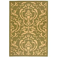 Safavieh Bimini Damask Olive Green/ Natural Indoor/ Outdoor Rug - 9' x 12'