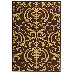 Safavieh Bimini Damask Chocolate/ Natural Indoor/ Outdoor Rug (2'7 x 5')