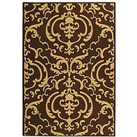 Safavieh Bimini Damask Chocolate/ Natural Indoor/ Outdoor Rug - 2'7 x 5'