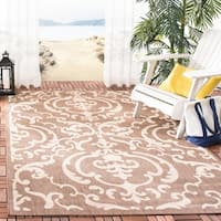 Safavieh Bimini Damask Chocolate/ Natural Indoor/ Outdoor Rug - 8' x 11'