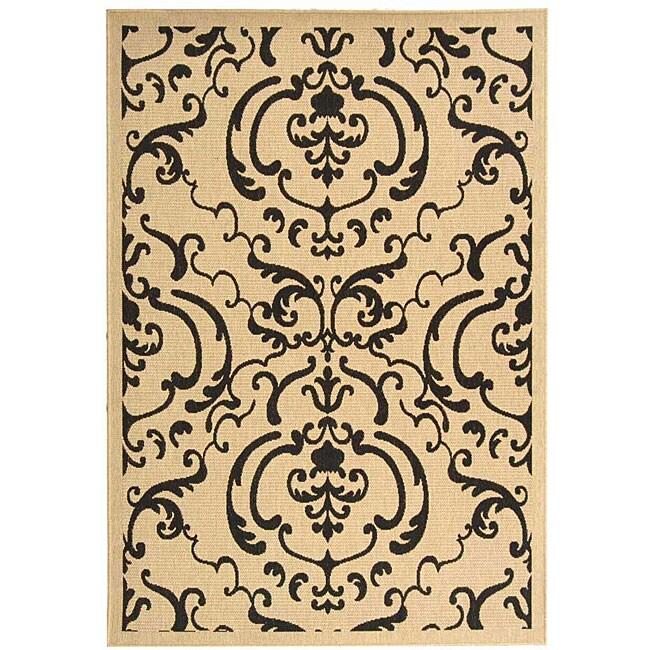 Safavieh Bimini Damask Sand/ Black Indoor/ Outdoor Rug (5'3 x 7'7)