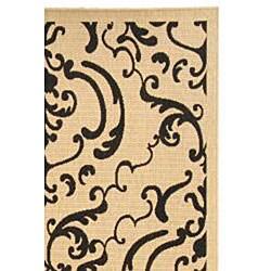 Safavieh Bimini Damask Sand/ Black Indoor/ Outdoor Rug (5'3 x 7'7) - Thumbnail 1