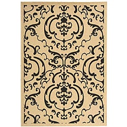 Safavieh Bimini Damask Sand/ Black Indoor/ Outdoor Rug (5'3 x 7'7)