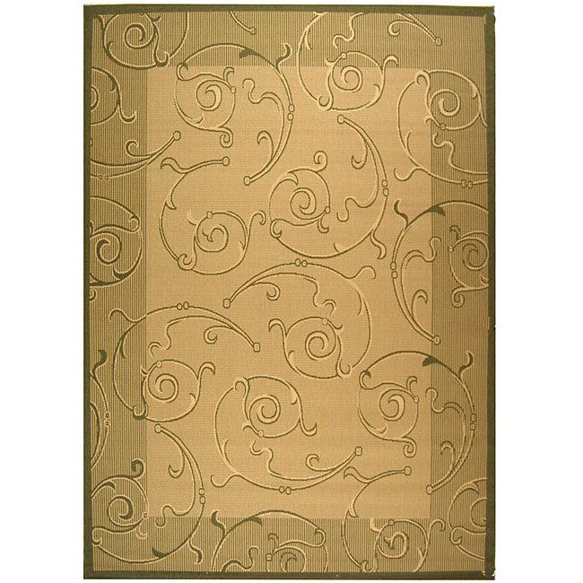 Safavieh Oasis Scrollwork Natural/ Olive Green Indoor/ Outdoor Rug (5'3 x 7'7)