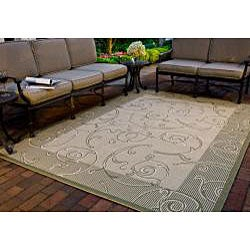 Safavieh Oasis Scrollwork Natural/ Olive Green Indoor/ Outdoor Rug (5'3 x 7'7) - Thumbnail 1